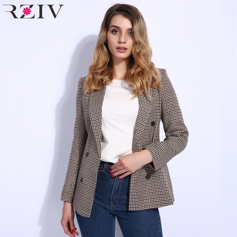 RZIV 2018 autumn women blazer and casual plaid double row button decorative suit blazer feminino ladies coats