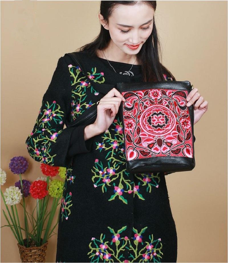 ФОТО Leather Embroidered Women crossbody bag Satin Embroidery Nice Fashion Women shoulder Bags National Modern style bolsas