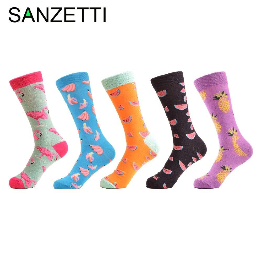 SANZETTI 5 pairs/lot Fashion Mens Combed cotton Casual Business Socks Novelty Cool Wedding Party Socks Funny Skateboard Socks