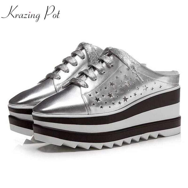 Krazing Pot 2018 cow leather shoes women square toe hollow women pumps platform mules vintage preppy style increased shoes L0f1
