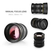50mm F1.1 APS C Large Aperture Manual Focus Lens for Canon Mount EOS M for SONY E mount NEX Fuji X M4/3 Mirrorless Camera