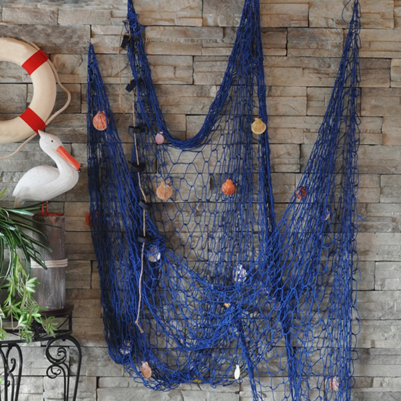 Mediterranean Style Nautical Fishing Net With Shells Beach Home Wall Decoration
