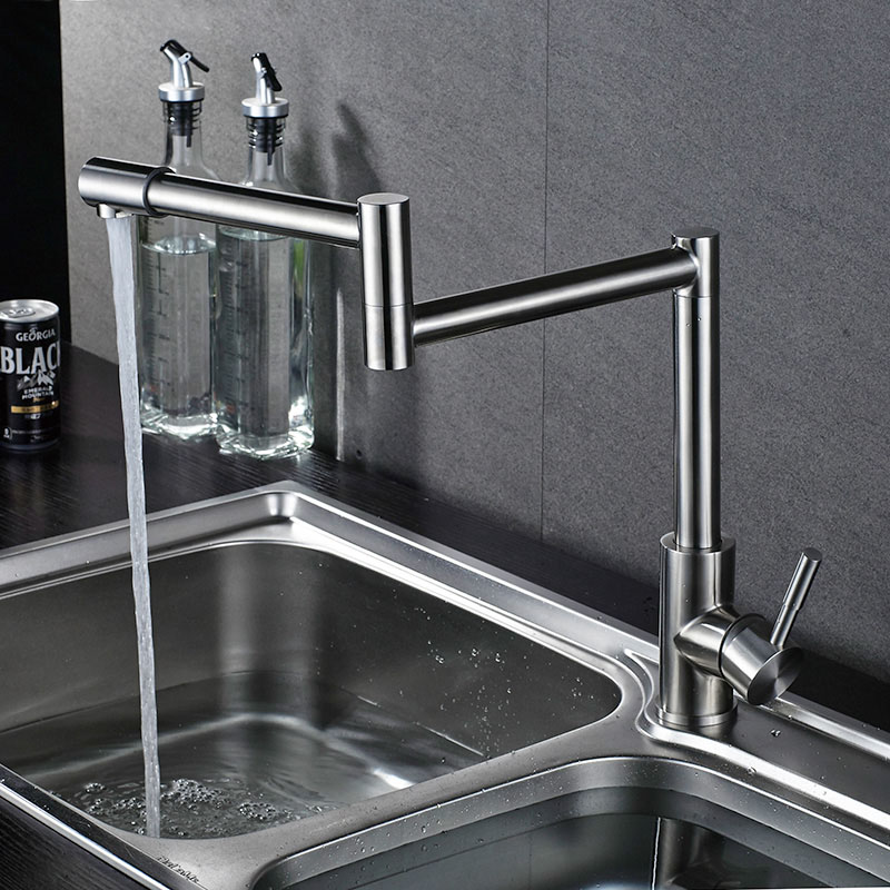 Quality Stainless Steel Swivel Kitchen Faucet Basin Sink faucets Mixer Tap Cold Hot Water Brushed Lead Free SUS304 XB8038 free shipping stainless steel folding lead free kitchen mixer tap sink faucet wall mounted hole hot and cold water kf785