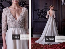 new sexy backless crystal organza Elegant Lace wedding dress sleeves kurti hot sale vestidos de novia 2017 Bridal Gown bride