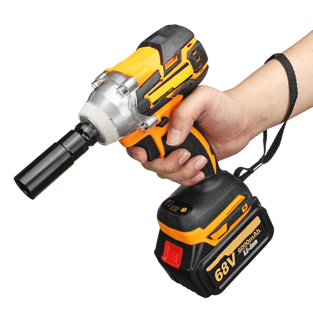 Cordless Lithium-Ion Electric Impact Wrench 68V 6000mAh 380Nm Brushless Motor 1/2 Battery with Charge Power ToolsCordless Lithium-Ion Electric Impact Wrench 68V 6000mAh 380Nm Brushless Motor 1/2 Battery with Charge Power Tools