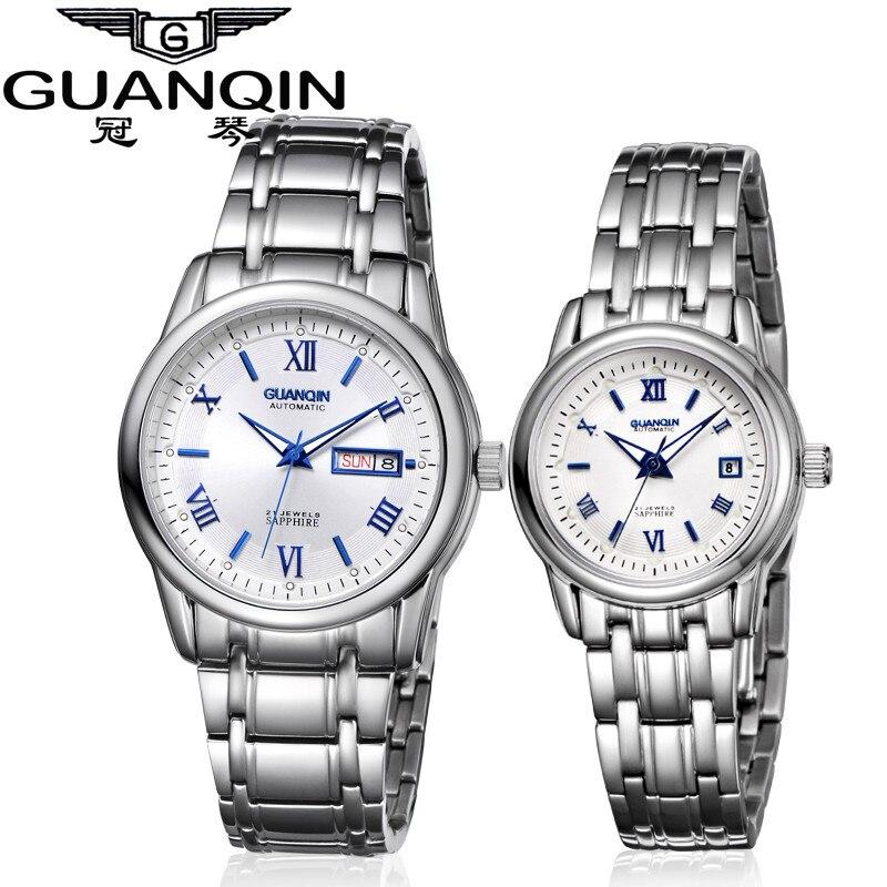 1 пара GUANQIN любителей Деловые часы пара автоматические часы Для мужчин Для женщин часы Авто Дата световой Водонепроницаемый часовой бренд Д