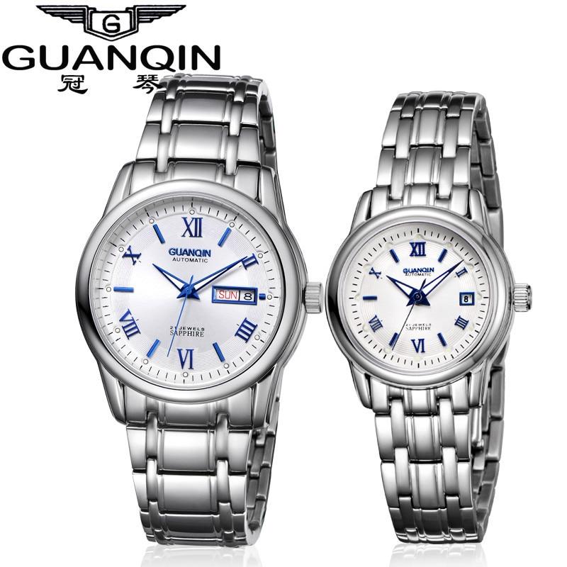 1 Pair GUANQIN Lovers Mechanical Watches Couple Automatic Watch Men Women Clock Auto Date Luminous Waterproof Brand Watch Men