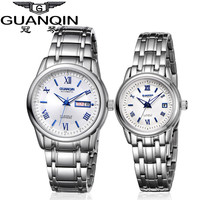 1 Pair GUANQIN Lovers Mechanical Watches Couple Automatic Watch Men Women Clock Auto Date Luminous Waterproof Brand Watch Men