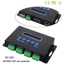 BC-204 led Artnet to SPI/DMX pixel light controller;Eternet protocol input;680pixels*4CH+One port(1X512 Channels) output;DC5-24V