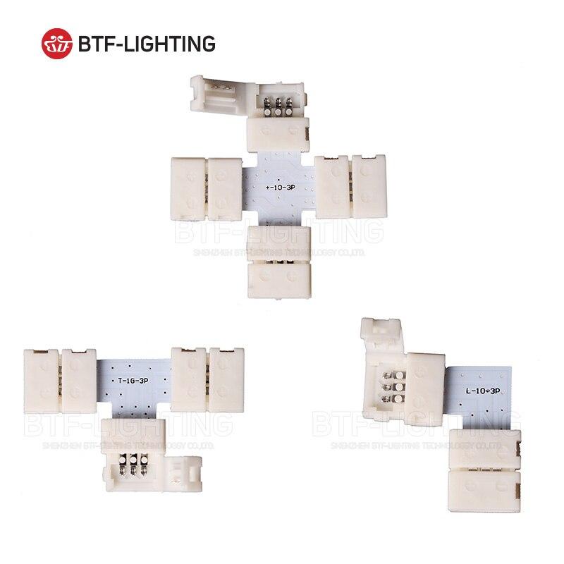 10 stücke ~ 1000 stücke 3PIN 10mm breite ecke Anschluss T/L/X form solderless stecker Für ws2811 ws2812b led-streifen Kein löten