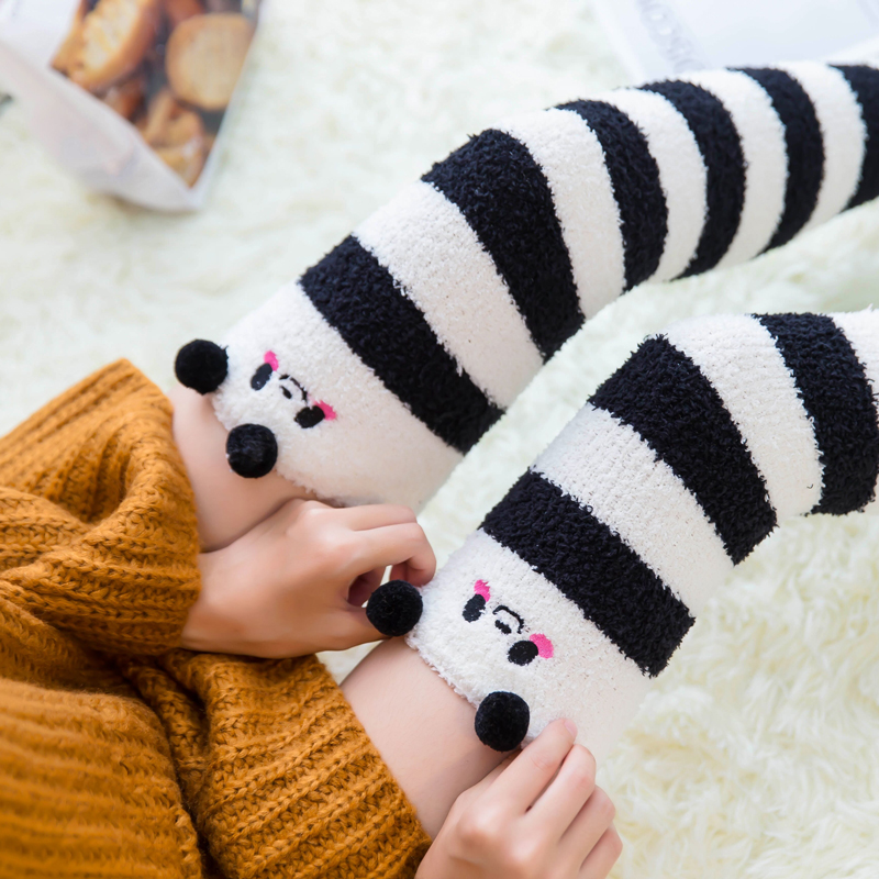 1Pair Lovely Women's Stockings Polyester Fuzzy Fluffy Stockings Winter Thick High Over Knees Cartoon Striped Ladies Stockings