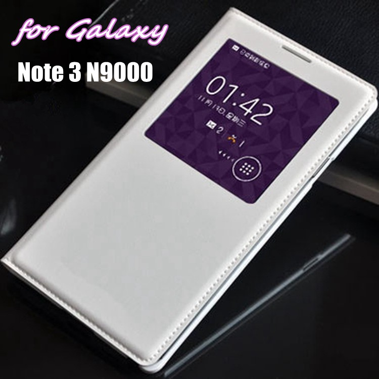 Auto Sleep Wake Flip Cover Smart Touch View Shell with Chip բնօրինակ կաշվե պատյան Samsung Galaxy Note 3 Note3 N9000 N9005- ի համար