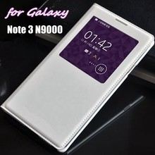 Auto Sleep Wake Flip Cover Smart Touch View Shell With Chip Original Leather Case For Samsung Galaxy Note 3 Note3 N9000 N9005