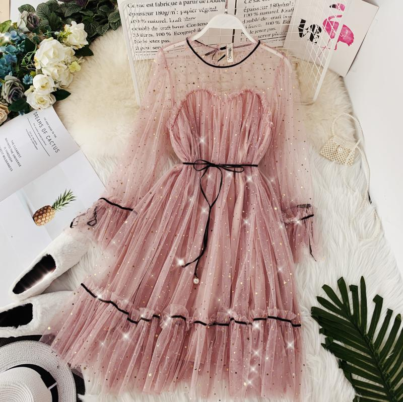 HISUMA spring autumn new women Star sequins gauze flare sleeve lace-up Princess dress female elegant o-neck mesh puff dresses 34