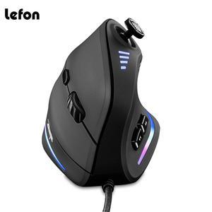 Image 1 - Lefon Vertical Gaming Mouse Wired RGB Ergonomic USB Remote Programmable Laser Gaming Mice 10000 DPI mice for Gamer joysticks C18