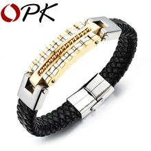 OPK Black Leather Bracelet Men Charm Bangle Stainless Steel Fashion New Men Jewelry Rock Chunky Leather Men's Bracelets PH993