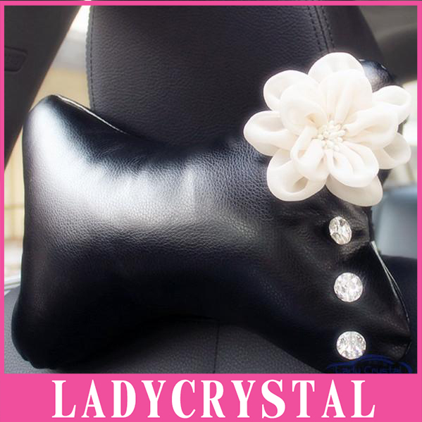 Ladycrystal Diamond Flowers Car Headrest Leather Pillow Auto Accessories Supplies General Rhinestone Crystal Car Neck Pillows