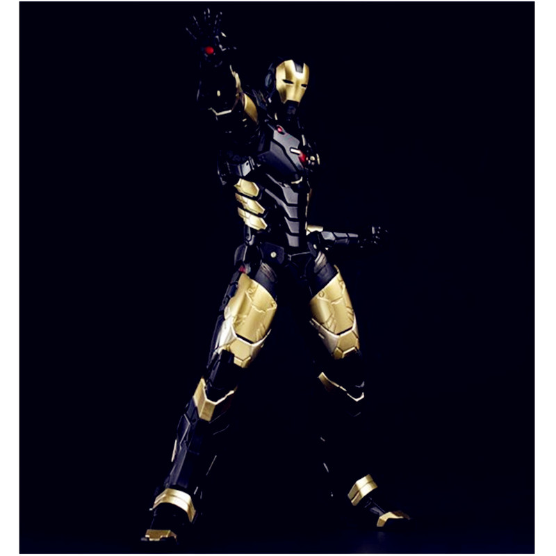 The Avengers Tony Stark Iron Man Mark MK 42 BLACK x GOLD With LED Light PVC Action Figure Collectible Model Toy G38 free shipping iron man motorcycle helmet mask tony stark mark 7 cosplay mask with led light