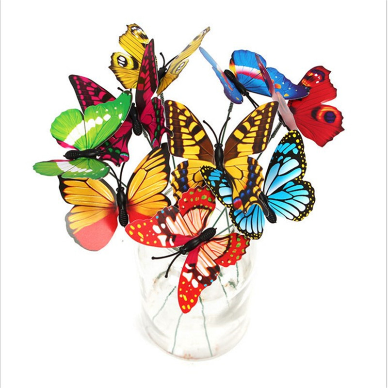 50 X New Style Colorful Flowerpot Decor Garden Decoration Butterfly Ornaments