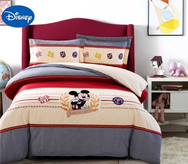 Mickey Maus Bettwäsche Set Kinder Bett Bettbezüge Disney Cartoon