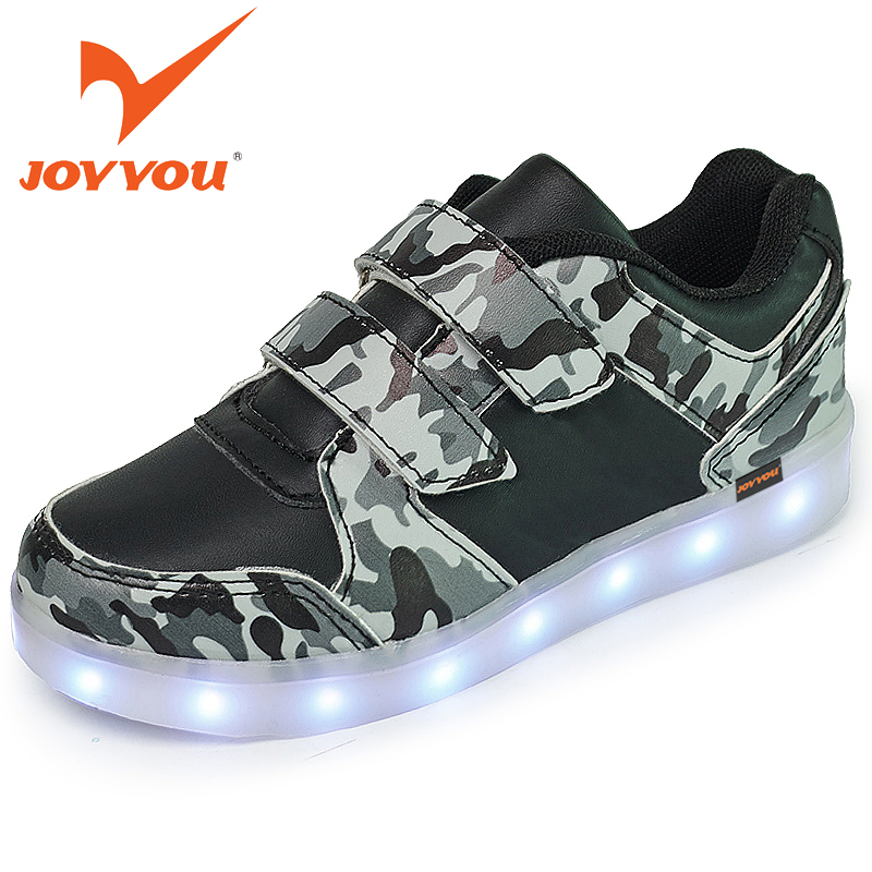JOYYOU Brand USB Children Teenage Kids Shoes Boys Girls Glowing Luminous Sneakers With Light Up Led School illuminated Footwear 25 40 size usb charging basket led children shoes with light up kids casual boys