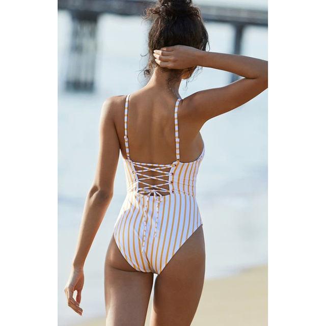 Wade Sea 2018 White Yellow Striped One Piece Swimsuit Bathing Suit Push Up Women Padded Swimwear High Cut String Monokini Female 1