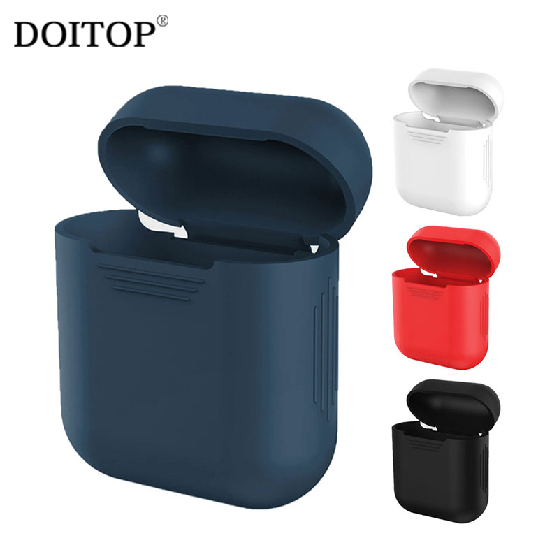 DOITOP Soft Silicone Case For Apple Airpods Shockproof Cover For Apple AirPods Earphone Cases Ultra Thin Air Pods Protector Case shockproof for airpods case earphone case tpu silicone bluetooth wireless headphone protector cover for apple airpods case cover