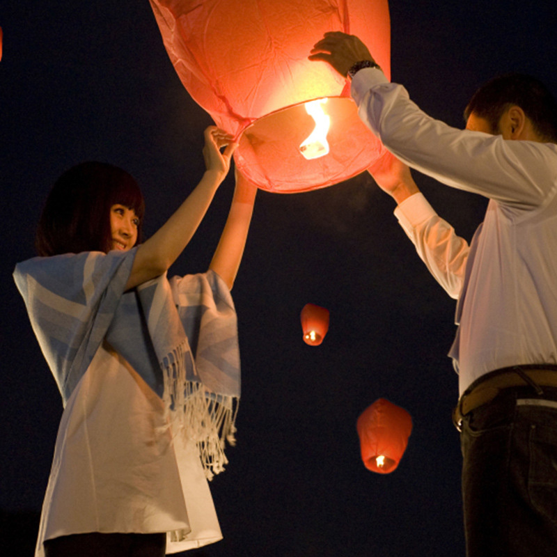 10pcs Chinese Lanterns Wishing Lamp Round Paper Flying Sky Lanterns ...