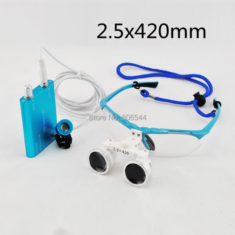 цены  Blue ! HOt !2.5x 420mm Dental Surgical Binocular Loupes + LED Head Light lamp Y6