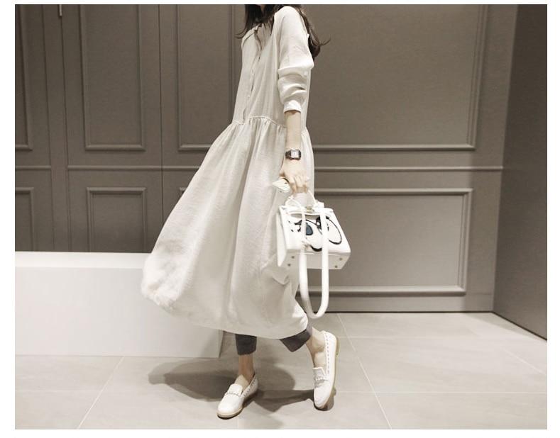 Frauen Neue Herbstkleider Baumwolle Leinen Langarm Vintage Kleid - Damenbekleidung - Foto 3
