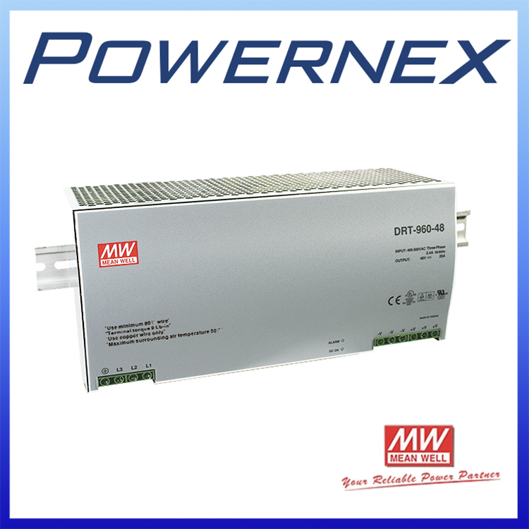 [PowerNex] MEAN WELL original DRT-960-24 24V 40A meanwell DRT-960 24V 960W Three Phase Industrial DIN RAIL Power Supply DRT-960 original mean well drt 960 24 960w 40a 24v three phase industrial din rail meanwell power supply drt 960