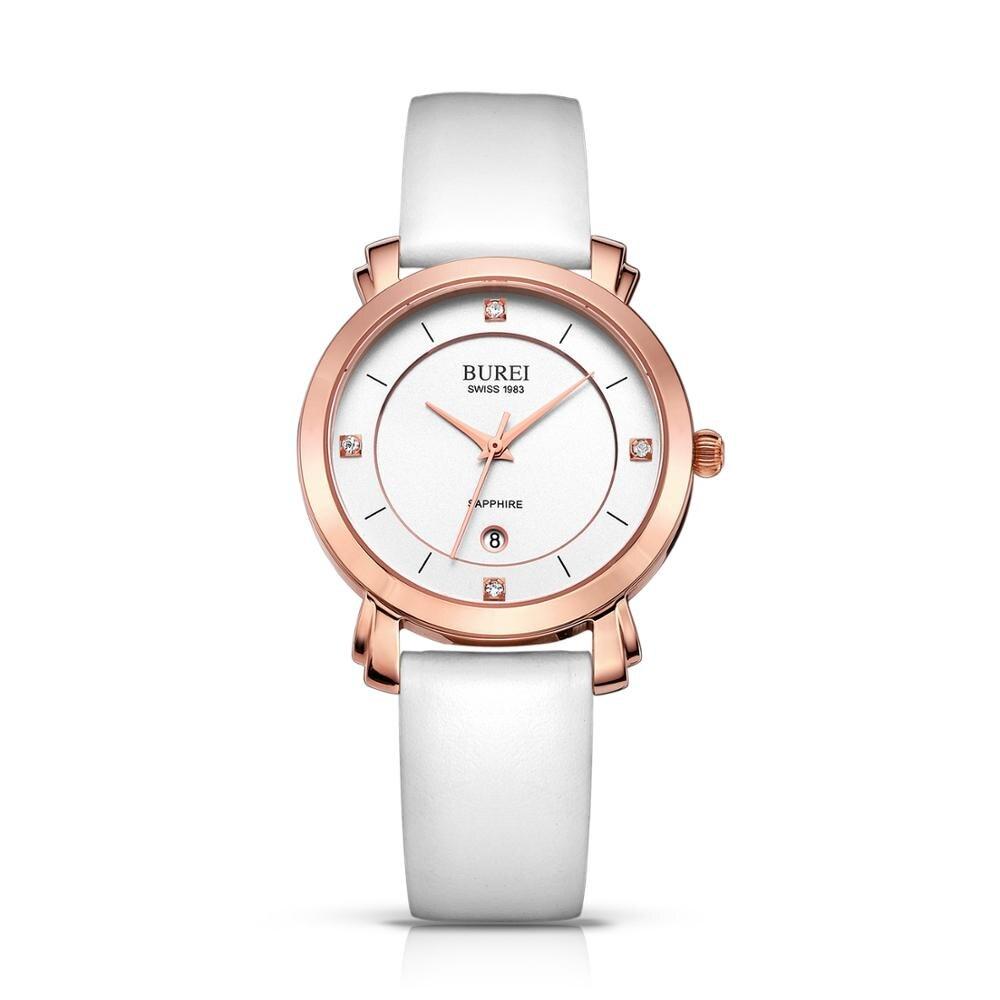 Буреи кварцевые часы Для женщин элегантное розовое золото часы с ремешком из натуральной кожи японский движение ladys clcok Relogio Feminino
