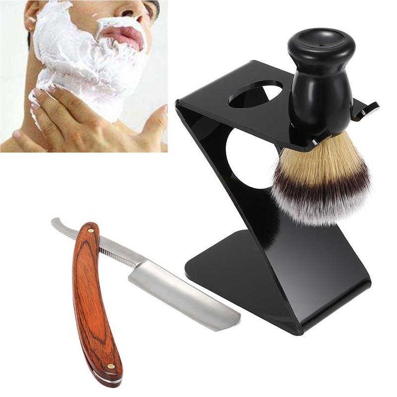 3 in 1 Men's Barber Shaving Tools Kit Barber Folding Straight Razor + Shaving Brush + Brush Stand + Shaver Set Gift