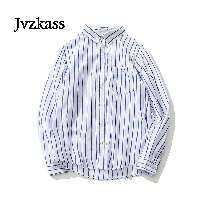 Jvzkass Autumn Japanese Neutral Womens Simple Loose Blue Stripes Small Fresh Students Wild Striped Long-sleeved Shirt Z186 Women's Clothing