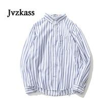 Jvzkass autumn Japanese neutral womens simple loose blue stripes small fresh students wild striped long-sleeved shirt Z186
