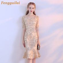 купить 2019 Women Sexy  High Neck Long Sleeve Split Glitter Dress Female Maxi Elegant Party Dress дешево