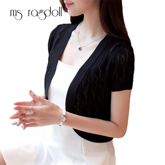 MS Ragdoll Vrouwen Trui Blusas Vrouwen Fashion Casual Wrap Coat Hollow Out Korte mouwen Korte Kleine Sjaal Effen Cardiga