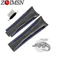 ZLIMSN Handmade Crocodile Bamboo Pattern Leather Strap Suitable For Rolex Watches Men Watchband Clock Watch Accessories 20mm
