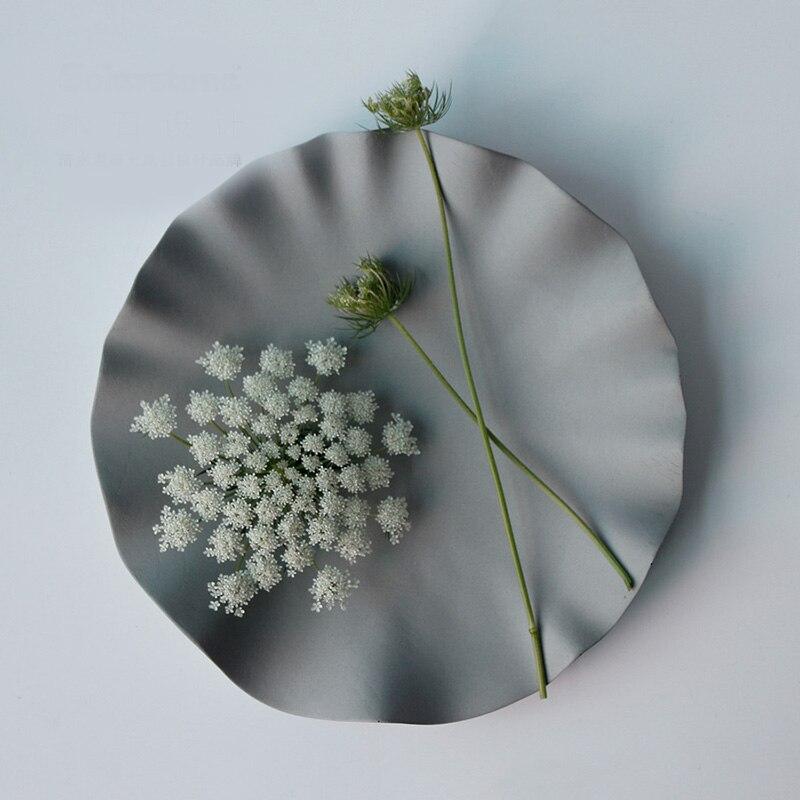 คอนกรีต art ถาดซิลิโคนแม่พิมพ์ผลไม้เก็บซีเมนต์แผ่นแม่พิมพ์ lotus leaf shape แผ่นออกแบบแม่พิมพ์ห้องจอแสดงผลยิปซั่มแม่พิมพ์-ใน เครื่องมือทำเครื่องปั้นดินเผาและเซรามิค จาก บ้านและสวน บน   2