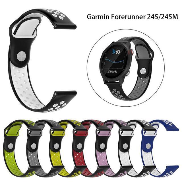 20MM Neue Ersatz Riemen Zwei farbe Silikon Atmungsaktive Uhr Band Armband Für Garmin Forerunner 245 245M Smart uhr