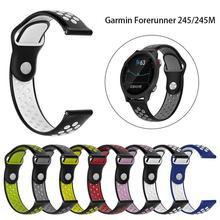 20mm nova substituição cinta de dois cor silicone respirável pulseira de banda de relógio para garmin forerunner 245 245 m relógio inteligente