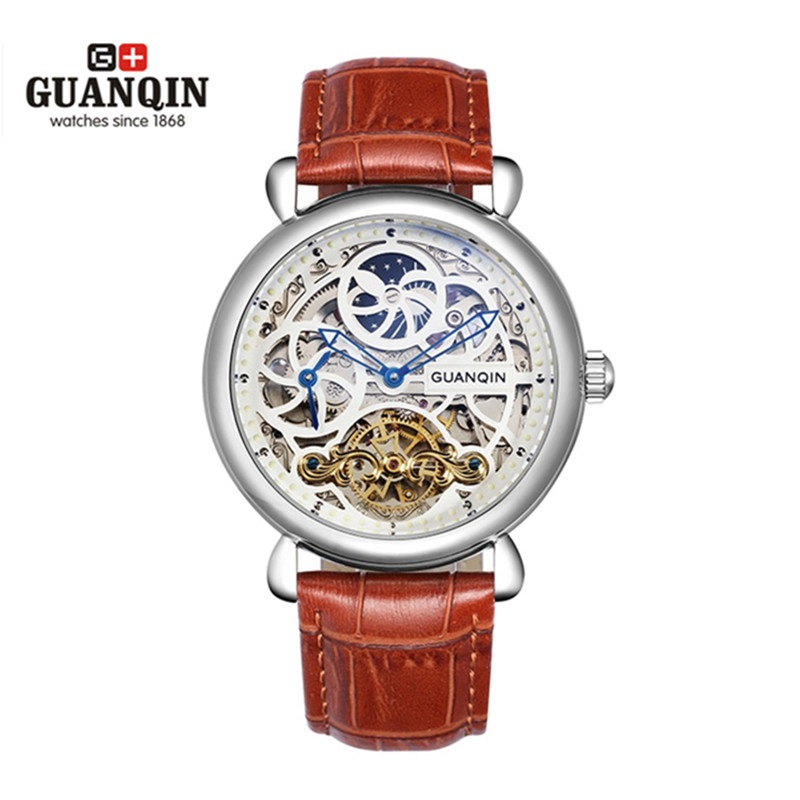 Famous Brand GUANQIN Men Mechanical Watch Sapphire Hollow Big Dial Watches Waterproof Male Dress Watches Relogio Masculino Reloj famous brand guanqin men watch with date mechanical watches sapphire men sale watch luxury brand waterproof dress wristwatches