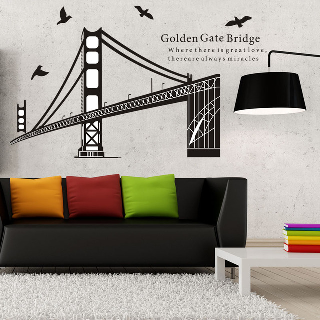 Liberez Le Bateau Golden Gate Bridge Photo Usa Mur Art Autocollants