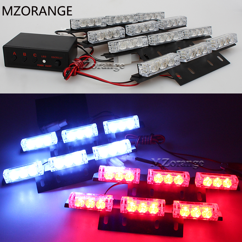 2 X 9 4 6X 8 LED police lights Amber Emergency Lights Car Auto Boat Bar Red Strobe Light 3 Flash Mode