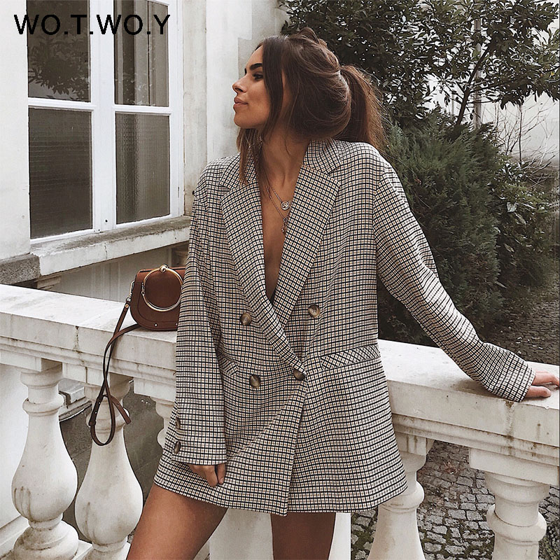 Image 3 - WOTWOY Double Breasted Plaid Blazer Women Khaki Pocket Long Sleeve Office Ladies Blazer Autumn Jacket Female Outerwear Coats-in Blazers from Women's Clothing