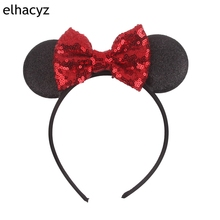 1PC Hair Style Classical 4 Sequins Minnie Bow Mouse Ears Kids Girl Hairband DIY Accessories 2019 Photo Pro Headband