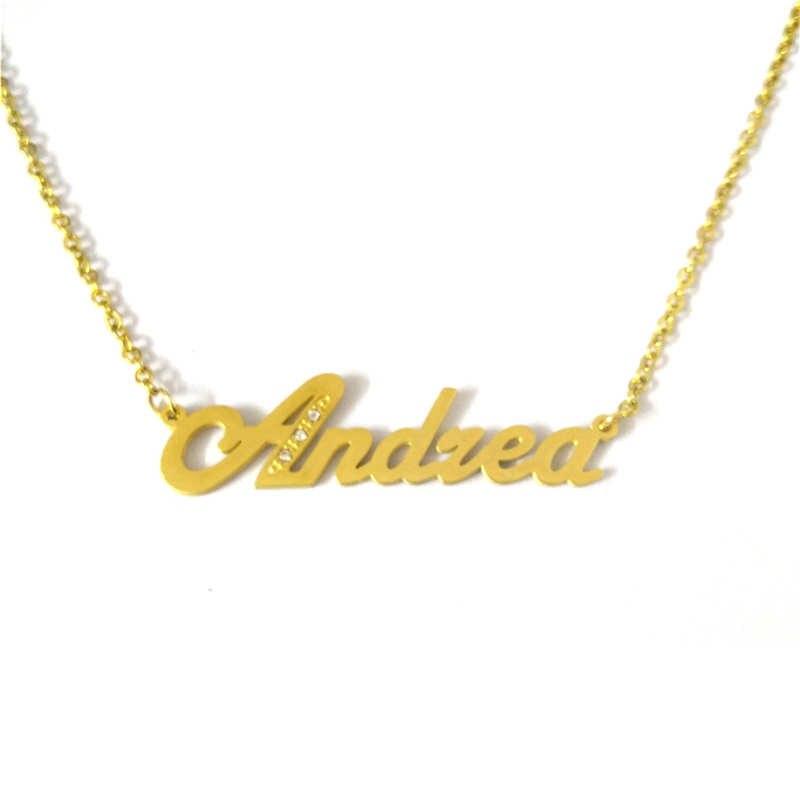 12f398ab7252 FairLadyHood collar nombre personalizado Andrea colgante collar  personalizado nombre personalizado collar del Color del oro