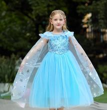 Elsa Dress Princess Girl Dresses Costumes Cosplay Children Fancy Party Anna Dress Role-play Carnival Girls Clothing Halloween high quality fancy princess elsa costume cosplay dress christmas for girls clothing baby role play halloween dresses with crown