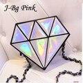 J-Bg Pink 2016fashion hologram bag diamond shape women messenger bag laser holographic crossbody chain bag 9 color free shipping