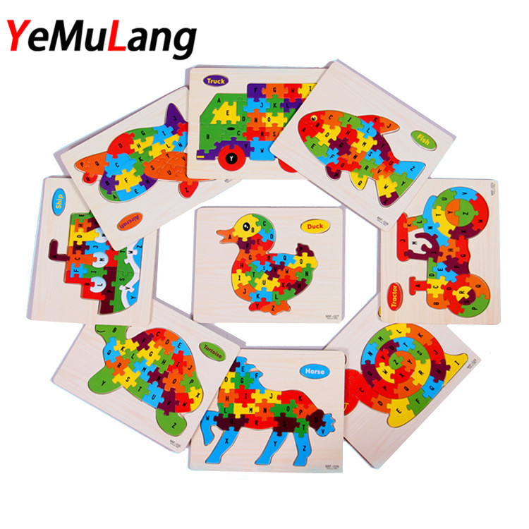 26pcs Wooden Puzzle Alphabet Scrabble Tiles Letters Jigsaw puzzle squares For Crafts Puzzle Wood toys for Children boys girls activity funny kid education toys alphabet abc wooden jigsaw puzzle toy children kids early learning educational game gift